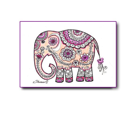 570x481 Instant Download Art Elephant Paisley Mandala Drawing Indian