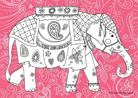 460x327 Indian Elephant Colouring Page
