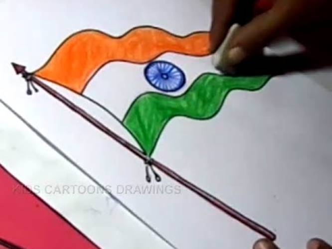 666x500 How To Draw Indian Flag Drawing Step By Step In Telugu For Kids