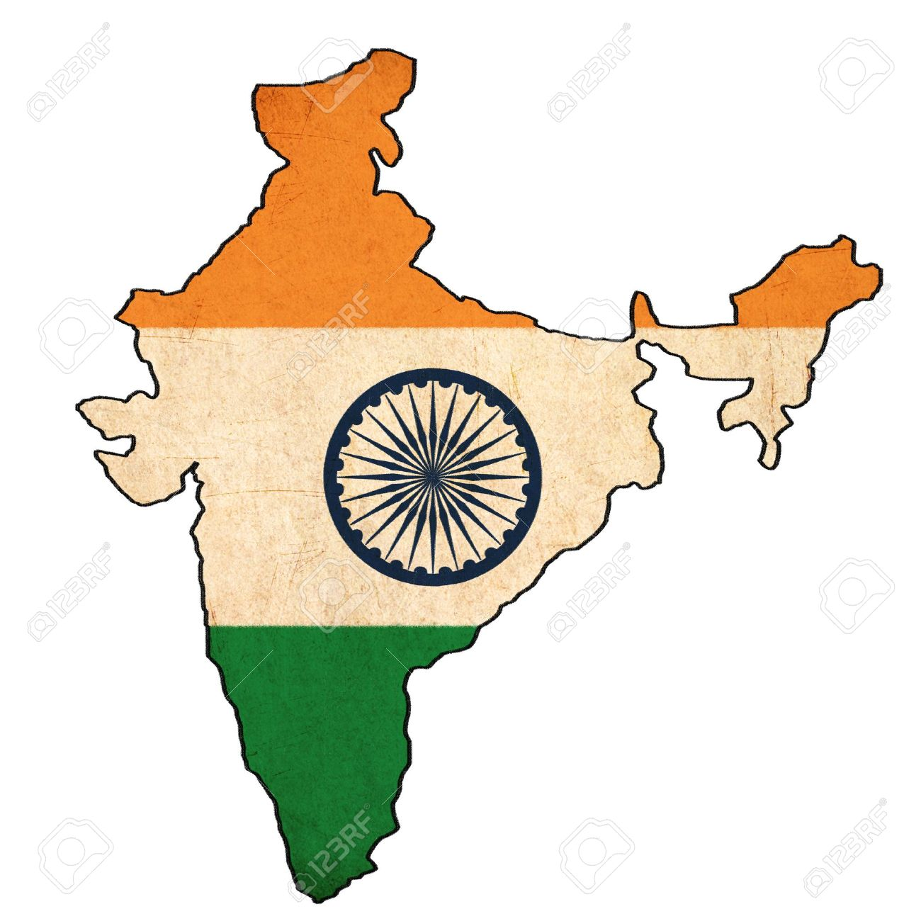 1300x1300 India Map On India Flag Drawing ,grunge And Retro Flag Series