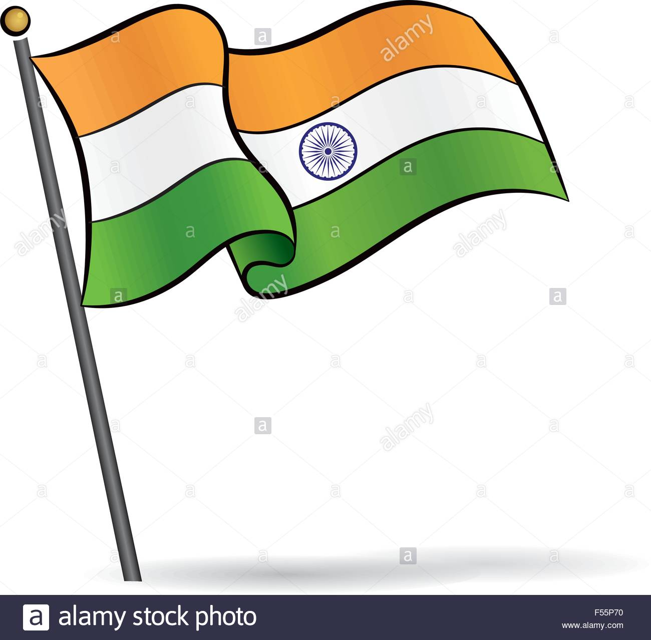 1300x1278 Indian Flag Waving On The Wind, Vector Illustration Stock Vector