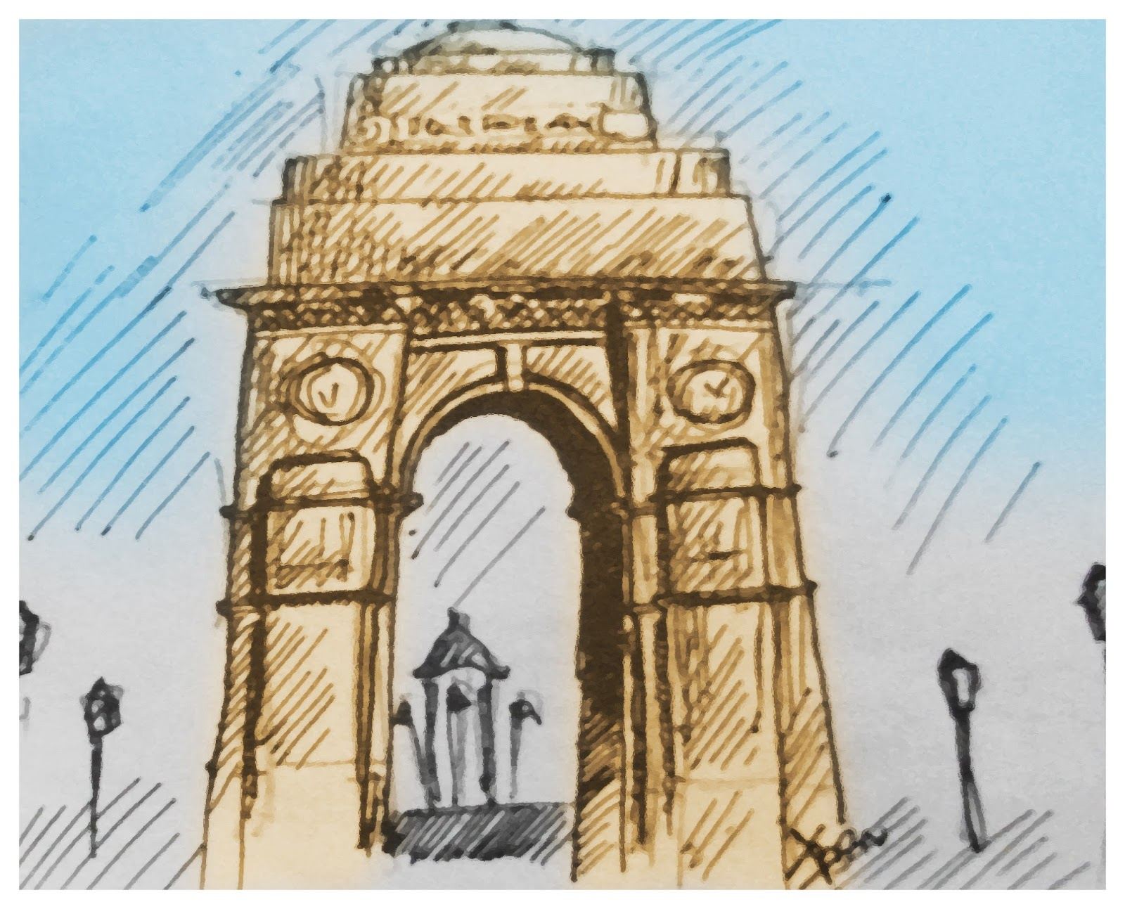 1600x1293 Explore India Gate Sketch