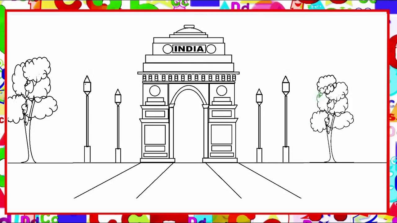 1280x720 How To Draw India Gate In Ms Paint