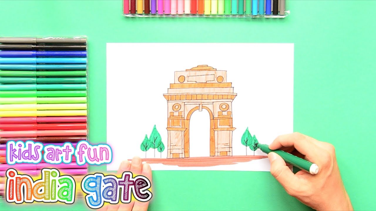 1280x720 How To Draw And Color India Gate, New Delhi