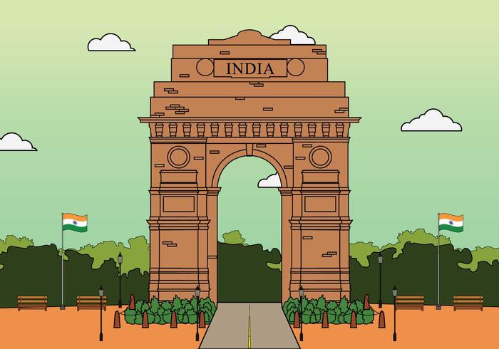 700x490 India Gate Free Vector Art