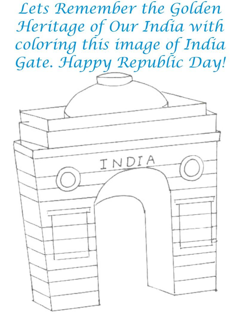 800x1052 India Gate Coloring Page Printable For Kids