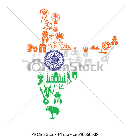 450x470 Easy To Edit Vector Illustration Of Indian Map With Cultural