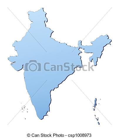 405x470 India Map Filled With Light Blue Gradient. High Resolution