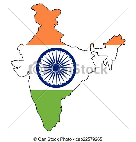 450x470 India Map Flag. Outline Map Of India Over A Map And White Clip