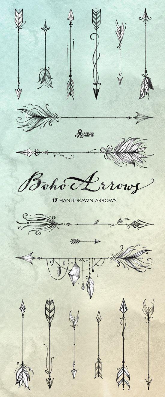 550x1321 Boho Arrows. 17 Hand Drawn Clipart. Tribal Native Diy Tattoo's I