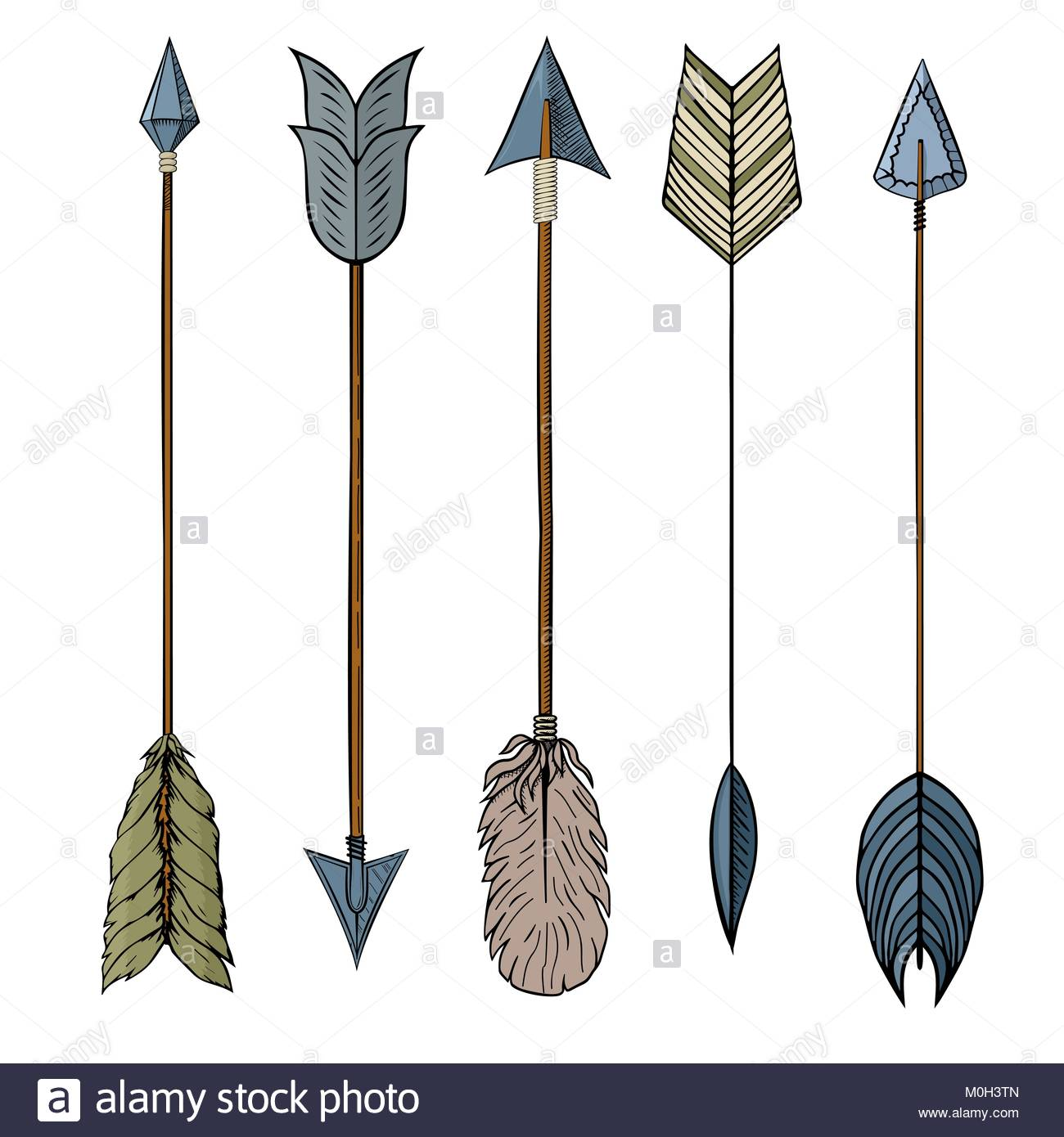 1300x1390 Set Of 5 Colored Hand Drawing Ink Traditional Indian Arrow
