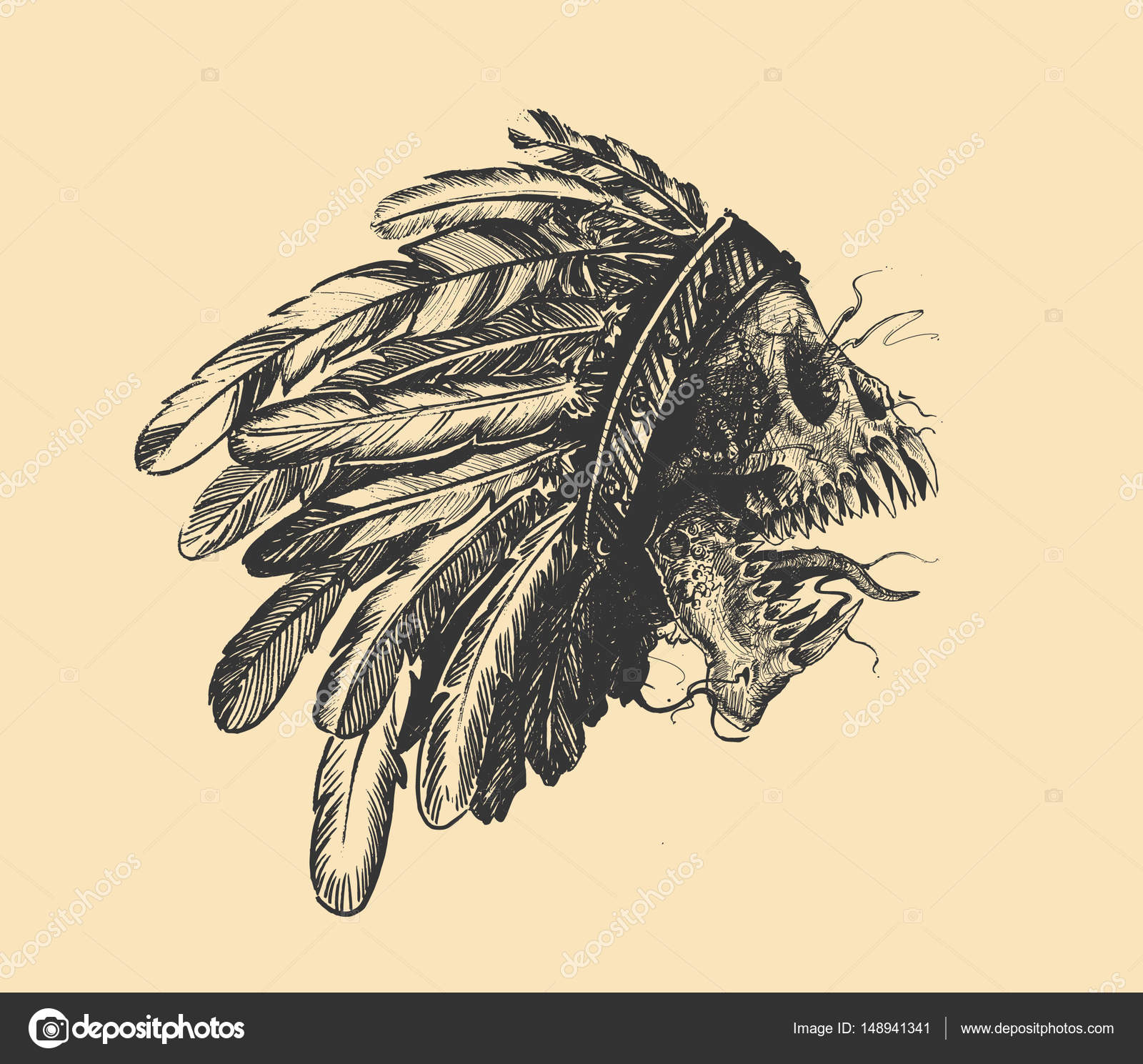 1600x1489 Hipster Skull Silhouette Skull Indian Chief In Hand Drawing