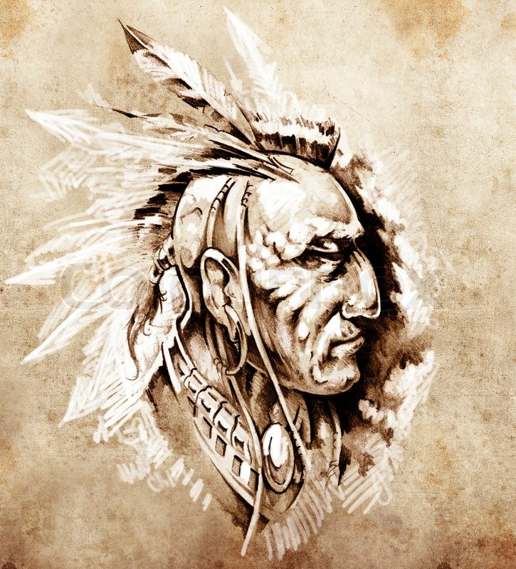 725x800 Sketch Of Tattoo Art, American Indian Chief Illustration Stock