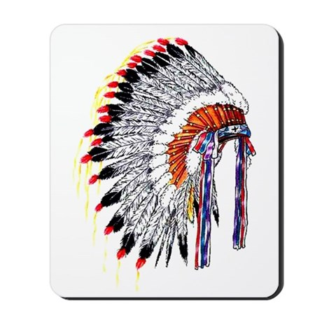 460x460 Indian Chief Headdress Mousepad by TattooArtShirts