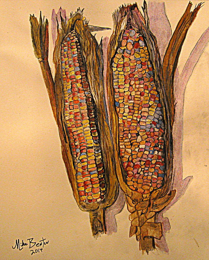 723x900 Indian Corn Drawing By Mike Benton