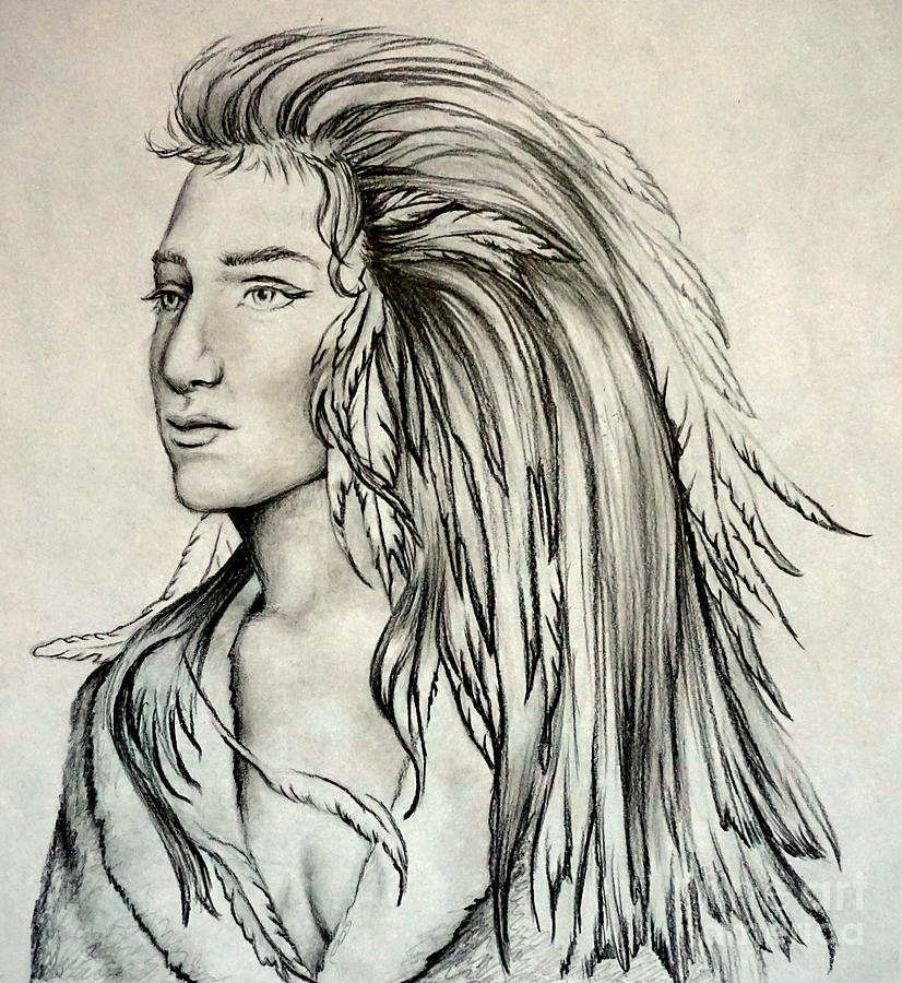 826x900 Native American Indian Girl Drawing By Georgia's Art Brush