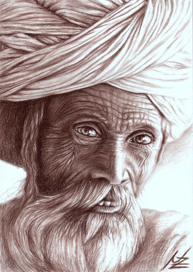 638x900 Old Indian Man Drawing By Nicole Zeug