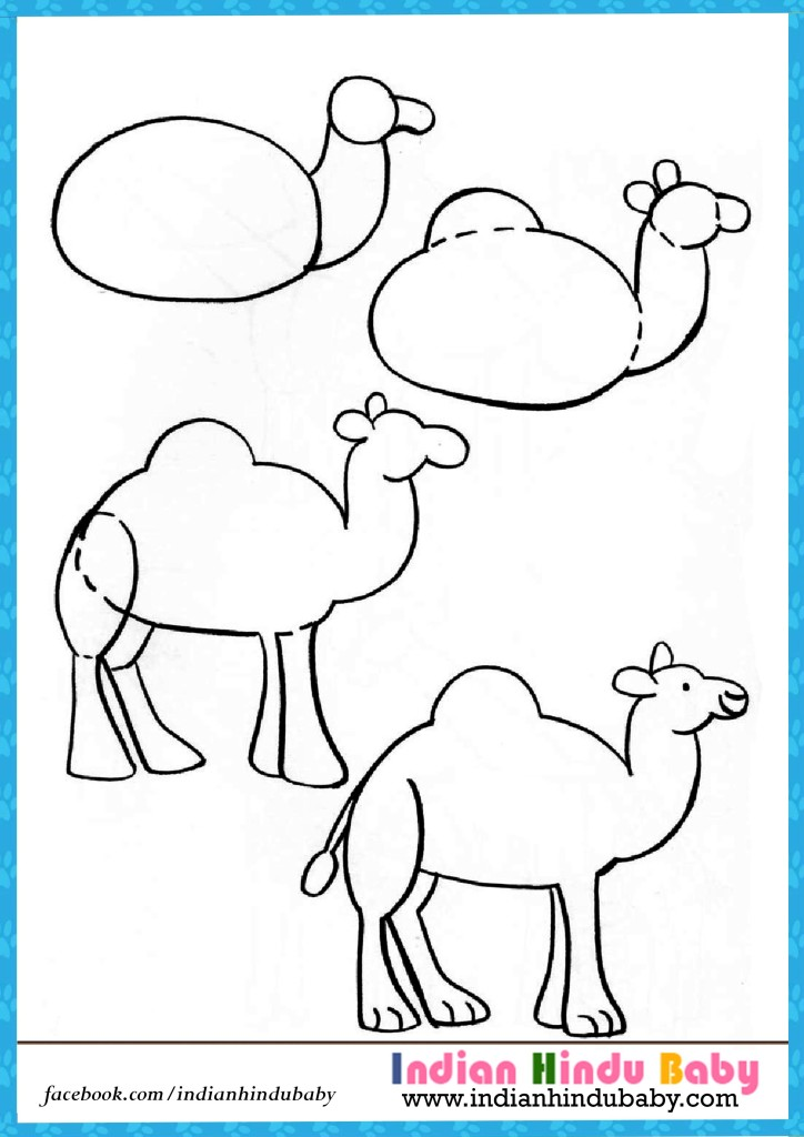 724x1024 Camel Step By Step Drawing For Kids Indian Hindu Baby