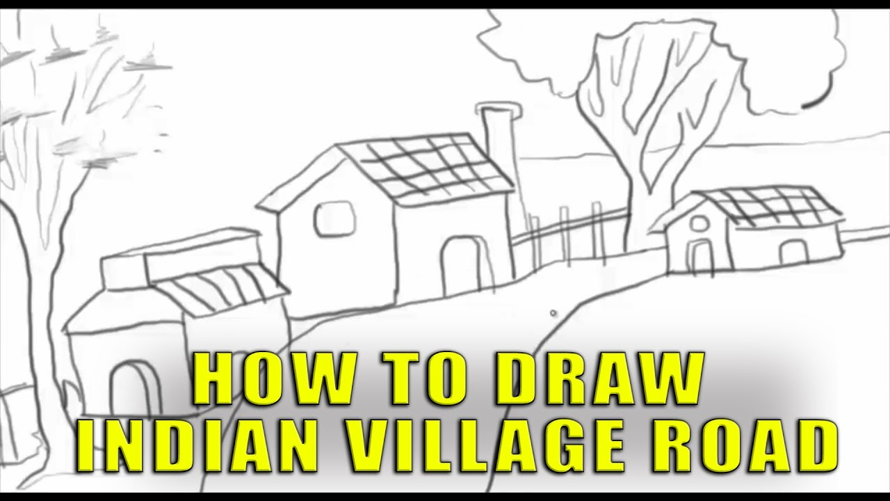 1280x720 Drawing An Indian Village Road Sketches For Kids Pencil