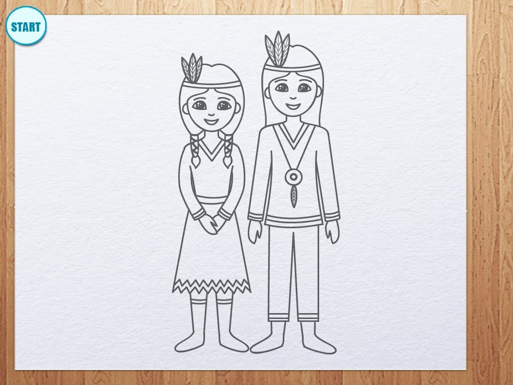 1056x793 How To Draw Indians For Thanksgiving Day
