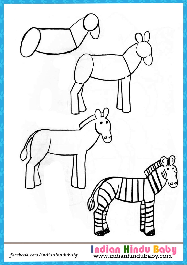 724x1024 Zebra Step By Step Drawing For Kids Indian Hindu Baby