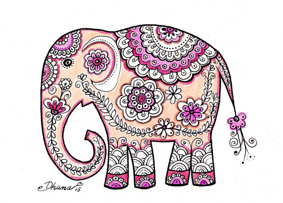 570x409 Elephant Drawing Painting Paisley Indian Art Ethnic Wall