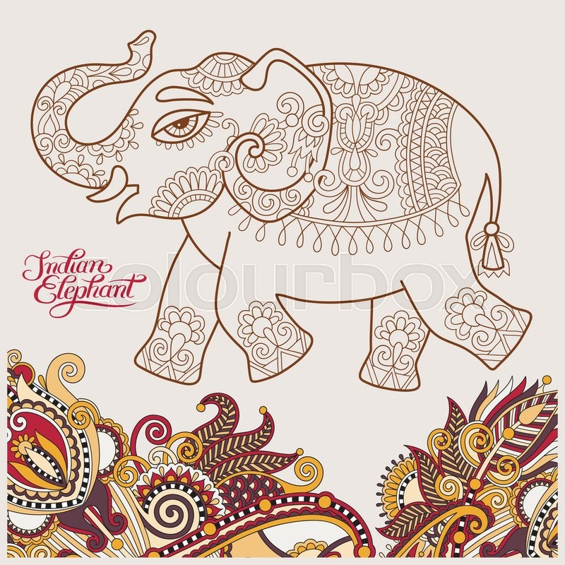800x800 Original Stylized Ethnic Indian Elephant Pattern Drawing And Hand