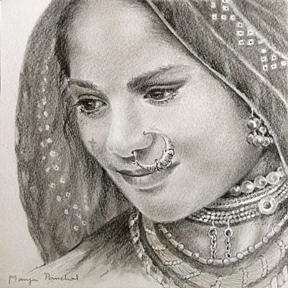 288x288 Paintings And Drawings By Manju Panchal Beautiful Face Of A Woman