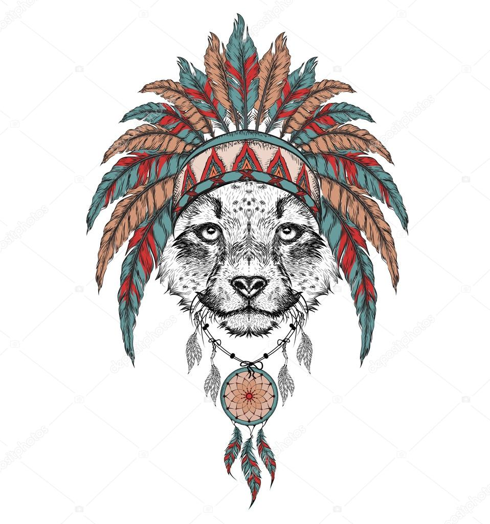 958x1024 Cheetah In The Indian Roach. Indian Feather Headdress Of Eagle