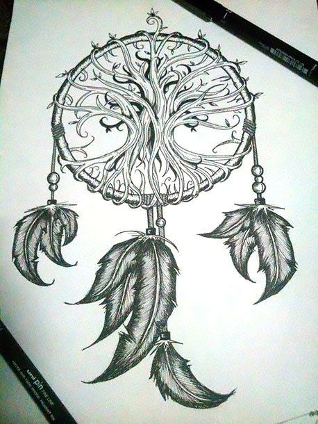 458x610 Dreamcatcher With Indian Feathers Tattoo Design Colour Black