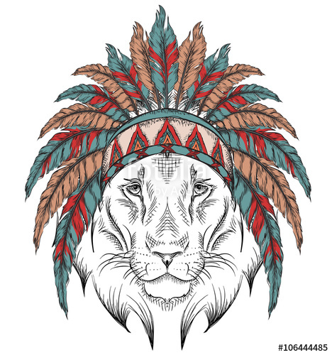 468x500 Lion In The Indian Roach. Indian Feather Headdress Of Eagle. Hand