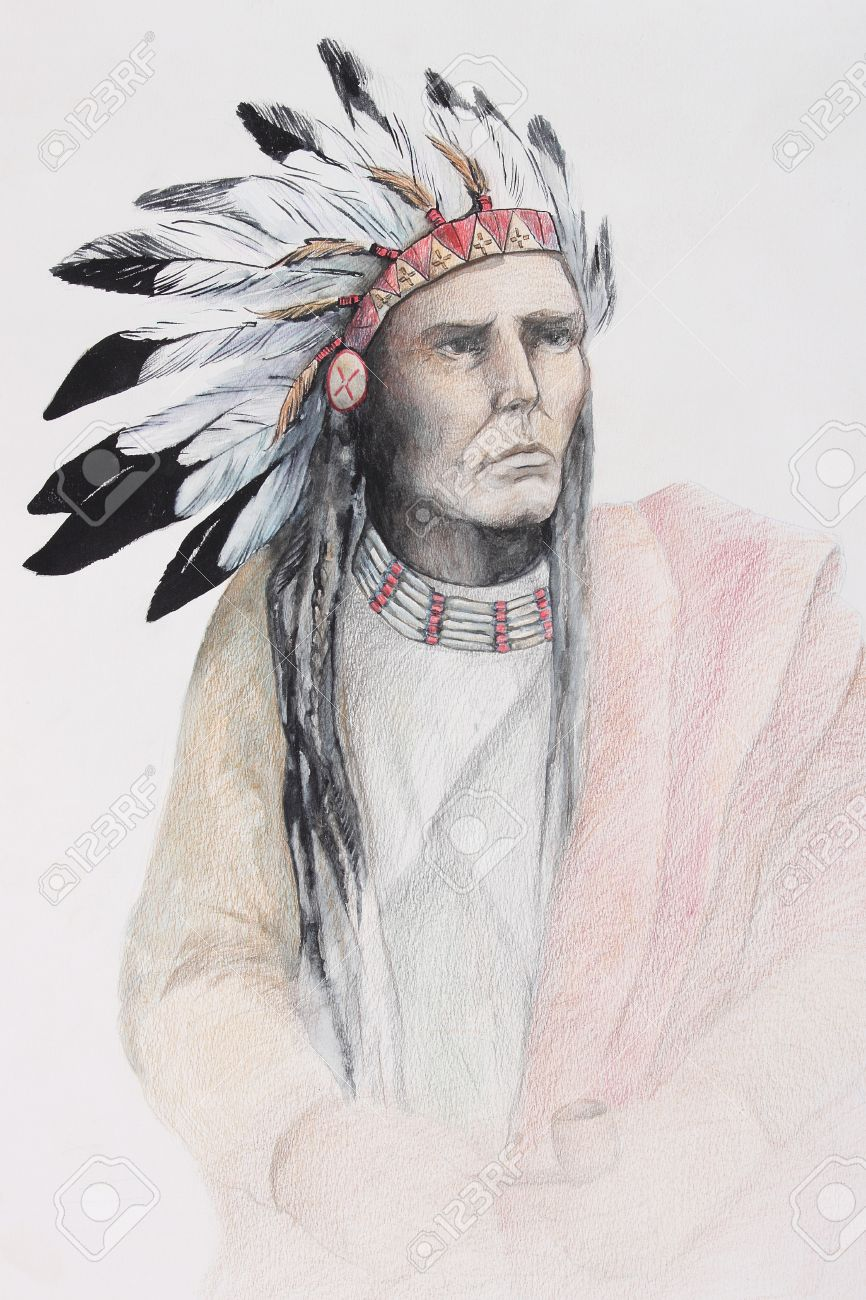 866x1300 Color Drawing Of American Indian With Feathers Stock Photo