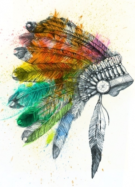 433x600 Colorful Indian Feathered War Bonnet (Indian,feathered,war Bonnet