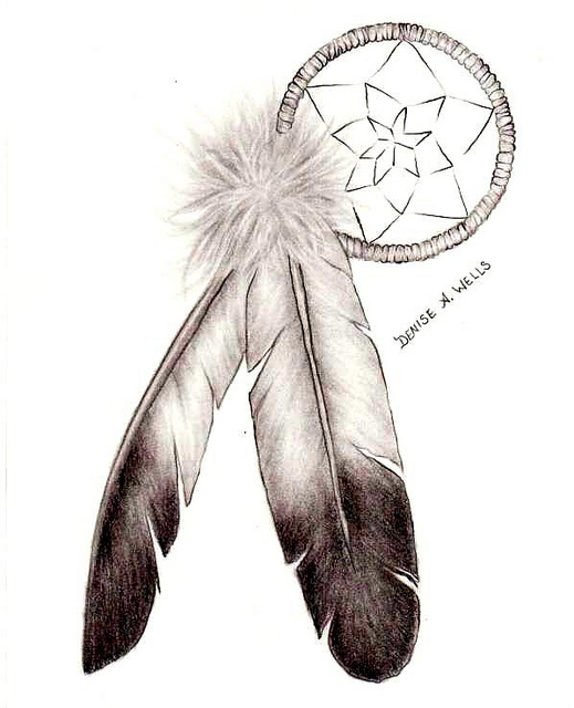 519x640 Dreamcatcher And Eagle Feathers Tattoo Design By Denise A. Wells
