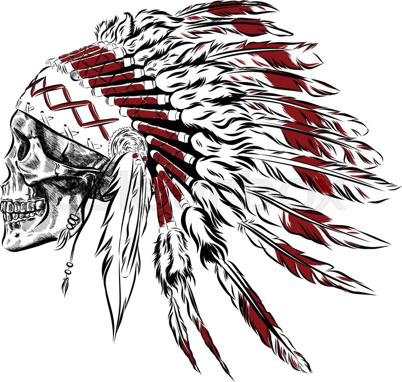 800x760 Hand Drawn Native American Indian Feather Headdress With Human