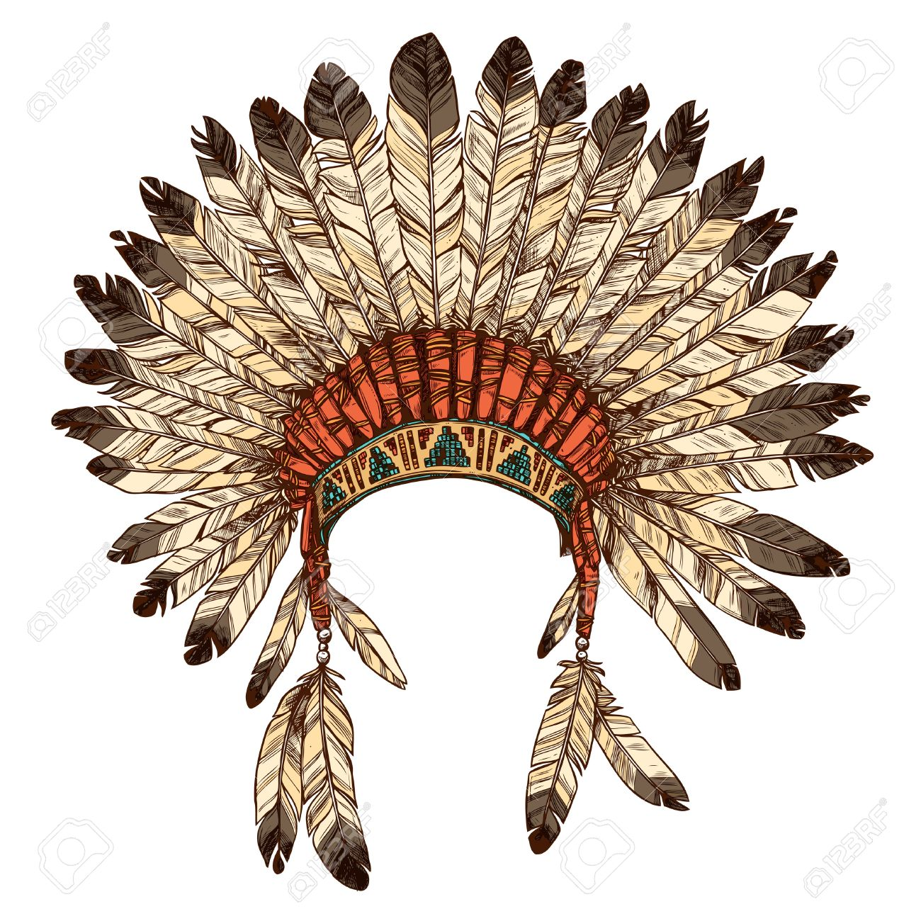 1300x1300 Hand Drawn Native American Indian Headdress. Vector Color