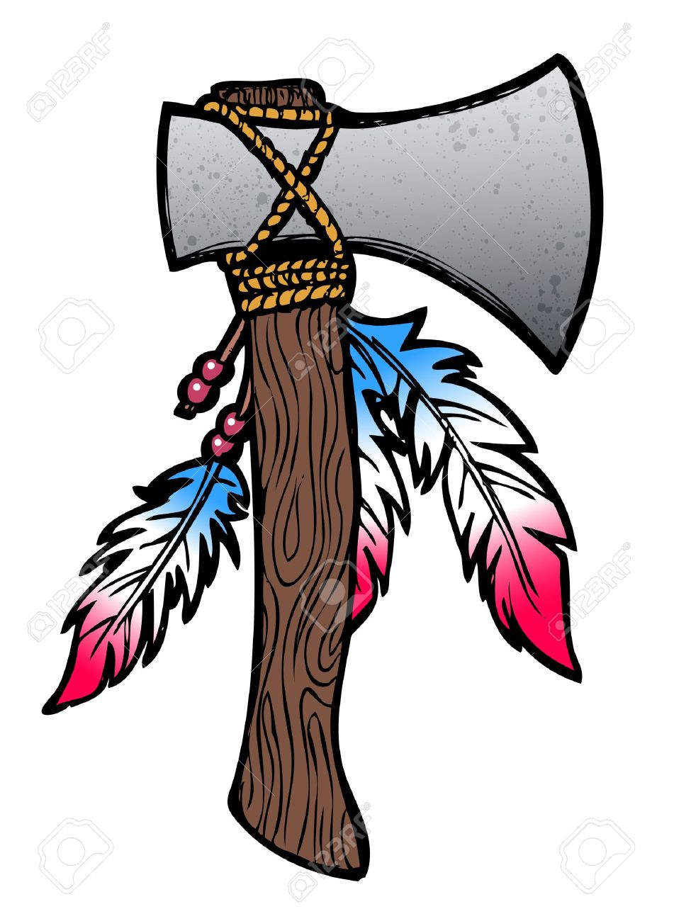 975x1300 Hatchet Axe Drawing With Feathers And Beads Royalty Free Cliparts