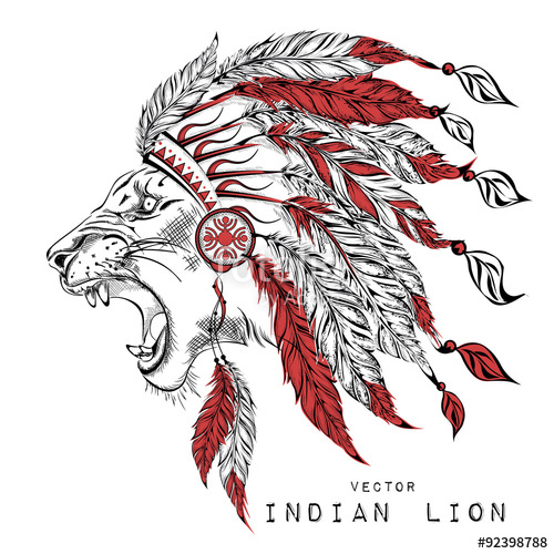 500x500 Lion In The Red Indian Roach. Indian Feather Headdress Of Eagle