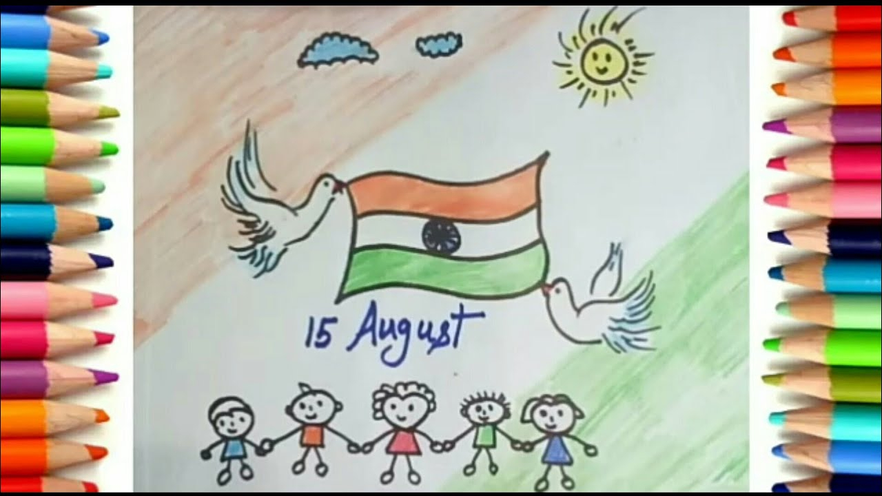 1280x720 Indian Scenery Drawing How To Draw Independence Day Scenery Kids