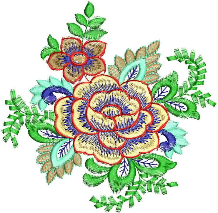 741x725 Indian Floral Embroidery Designs