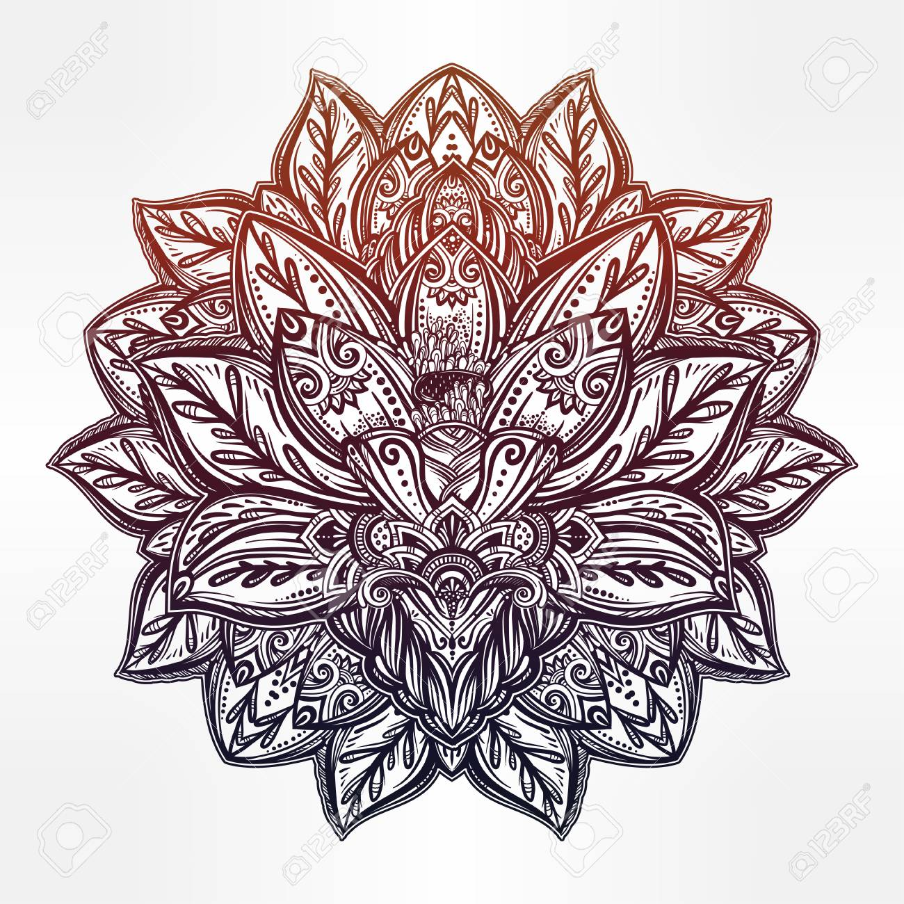 Indian flower drawing at getdrawings free for personal use 1300x1300 vector ornamental lotus flower ethnic art patterned indian mightylinksfo