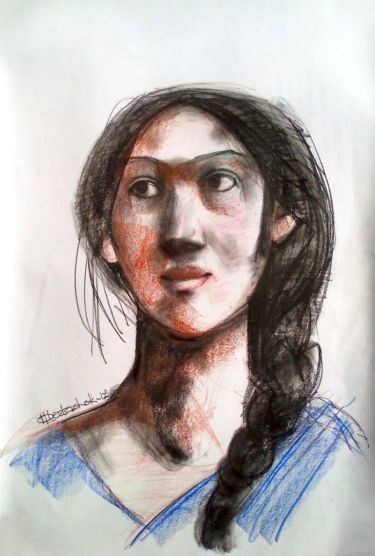 770x1141 Saatchi Art Indian Girl Drawing By Albert Ashok