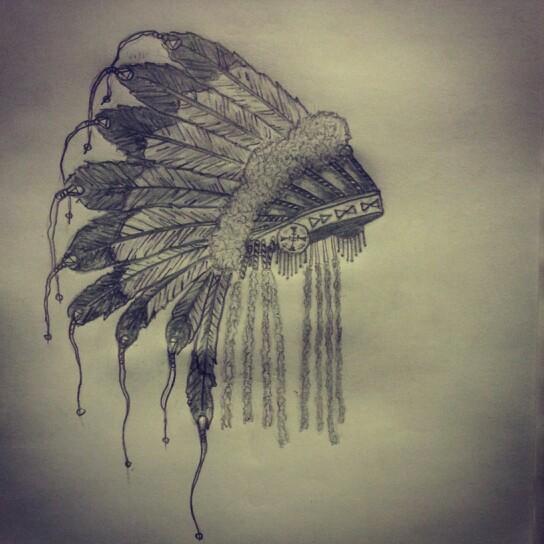 544x544 American Indian Head Dress Tattoo Sketch By