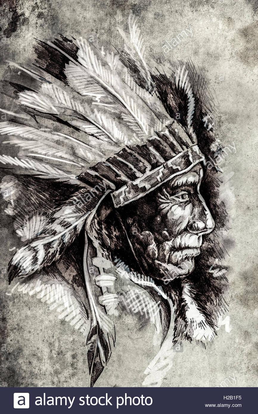 866x1390 Indian Head Chief Illustration. Sketch Of Tattoo Art, Over Vinta