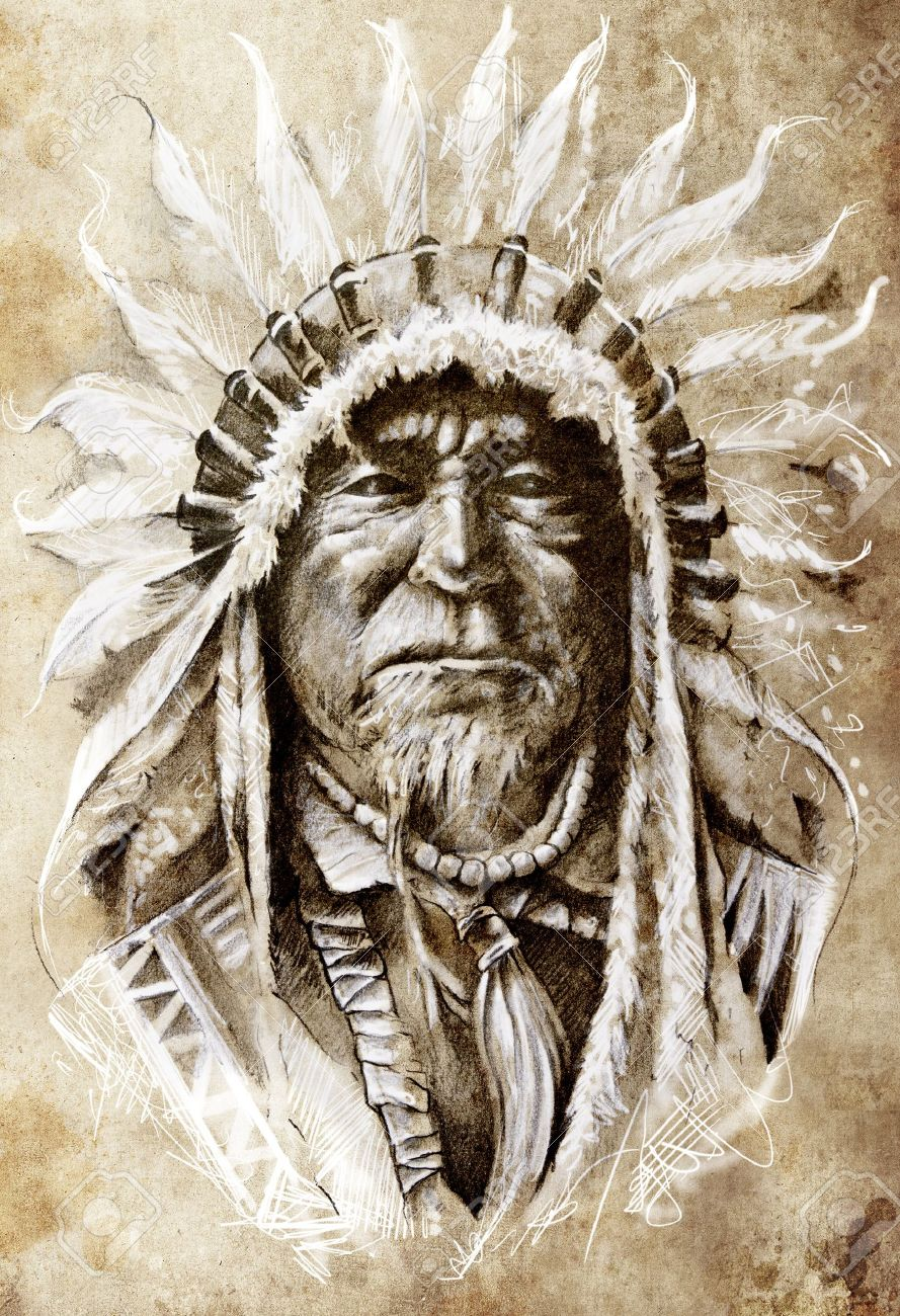 889x1300 Sketch Of Tattoo Art, Native American Indian Head, Chief, Vintage