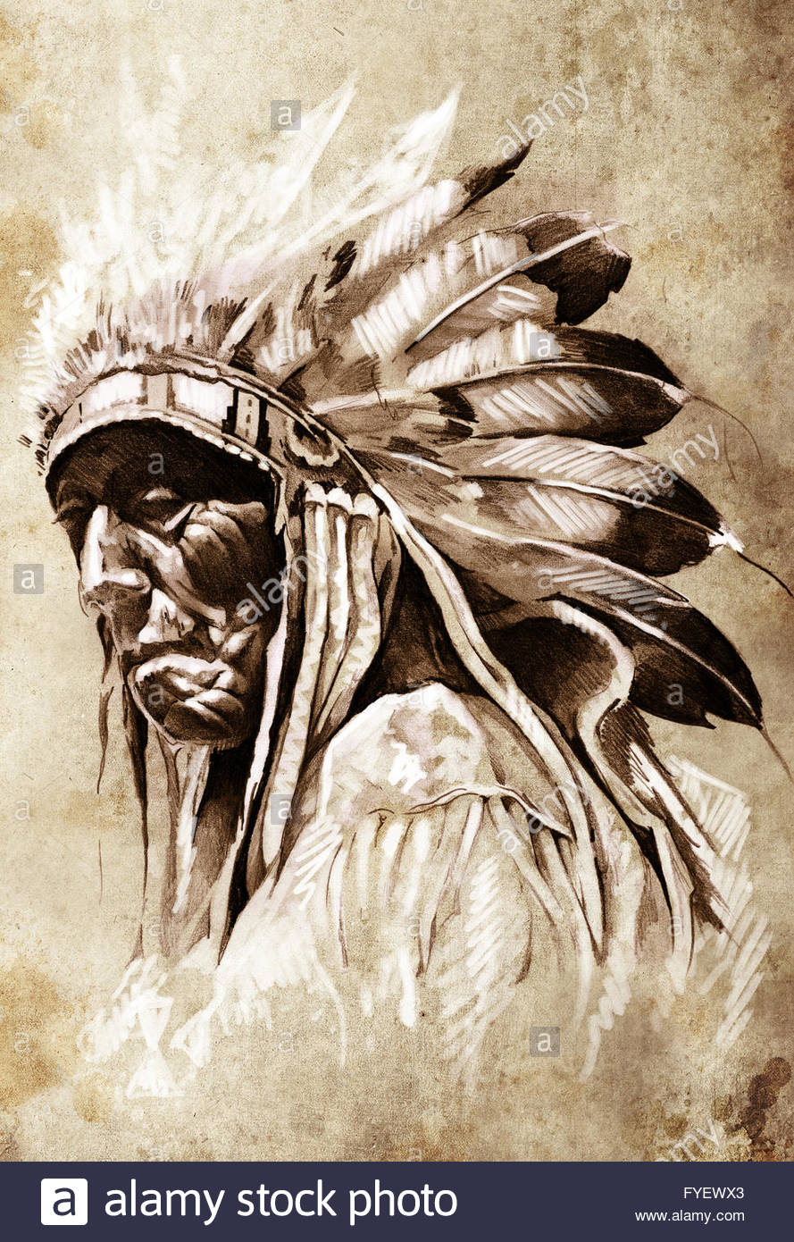 889x1390 Sketch Of Tattoo Art, Indian Head, Chief, Vintage Style Stock