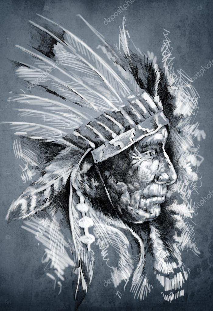 700x1023 Sketch Of Tattoo Art, Native American Indian Head, Chief, Dirty
