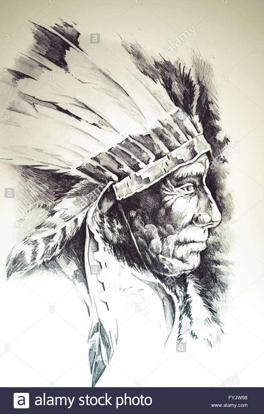 889x1390 Sketch Of Tattoo Art, Native American Indian Head, Chief, Isolated