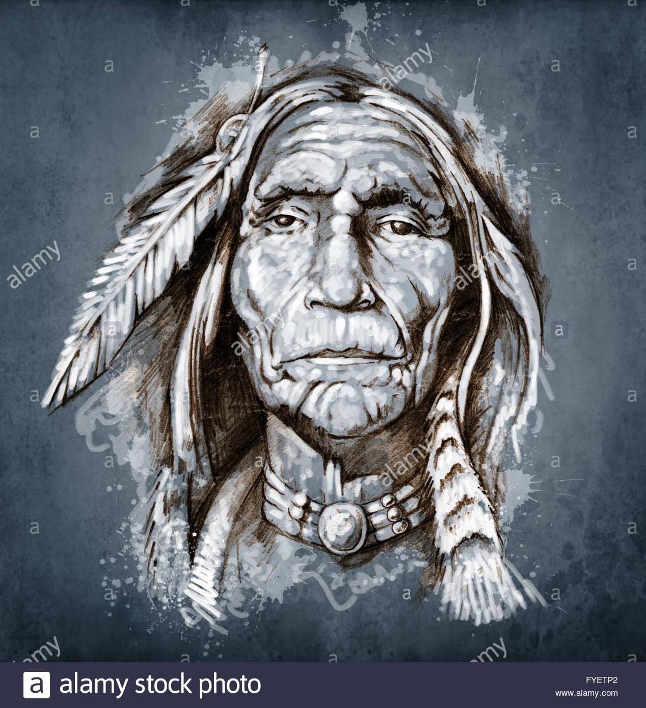 1268x1390 Sketch Of Tattoo Art, Portrait Of American Indian Head Stock Photo