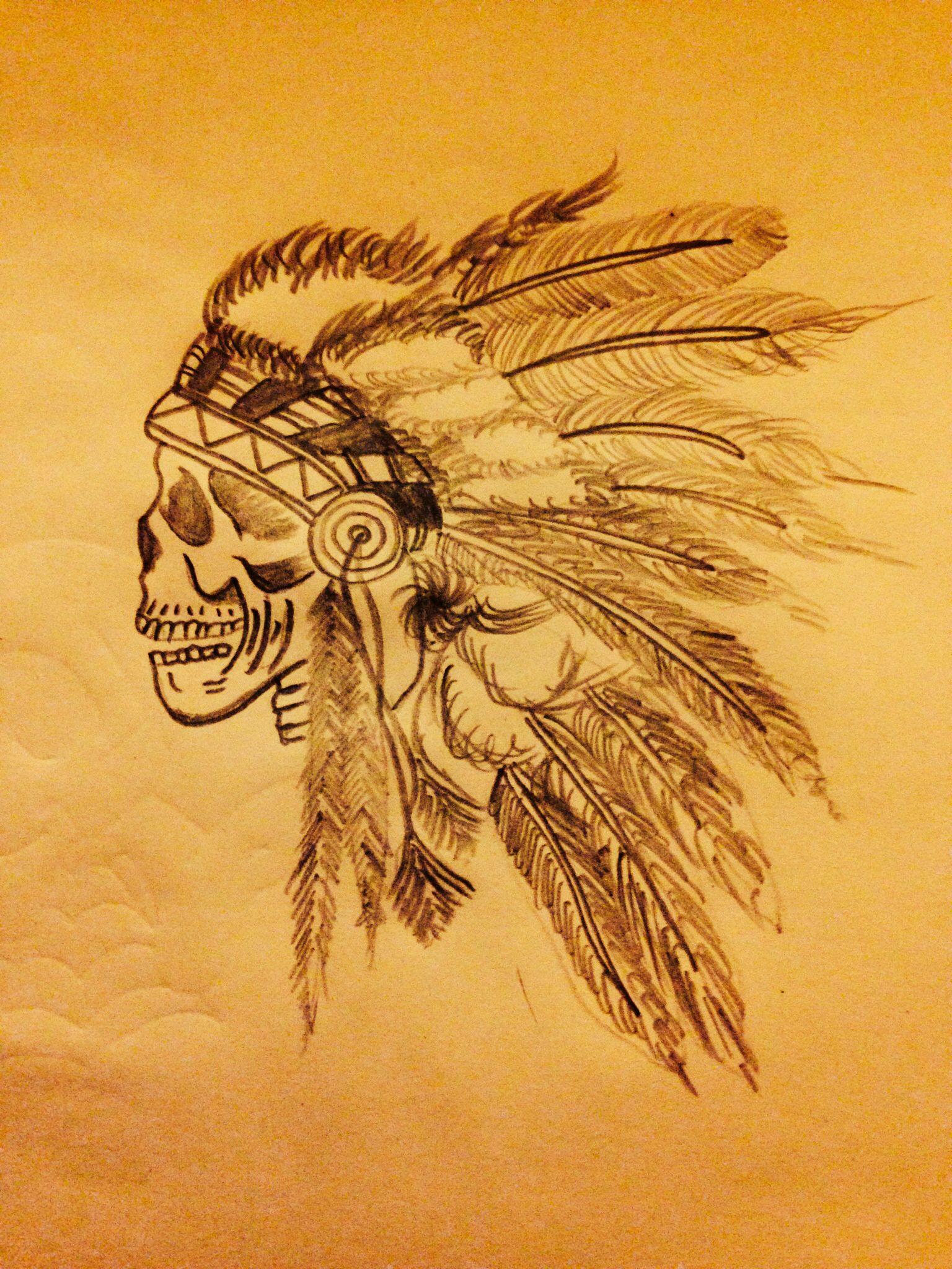 1536x2048 Tattoo Idea. Indian Head Dress Indian Skull Head